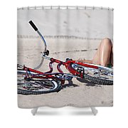 Red Bike On The Beach Shower Curtain