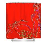 Red Biker Biatch Ps Shower Curtain