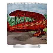 Red Biplane Shower Curtain by Megan Cohen