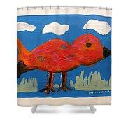 Red Bird In Grass Shower Curtain