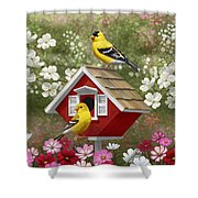 Red Birdhouse And Goldfinches Shower Curtain by Crista Forest
