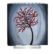 Red Black Tree Painting Shower Curtain