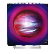 Red-black-white Planet. Twisted Time Shower Curtain