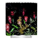 Red Blooms Shower Curtain