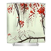 Red Blossom Tree On Handmade Paper Shower Curtain