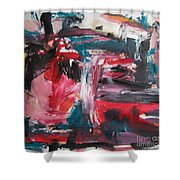 Red Blue Black Abstract Shower Curtain