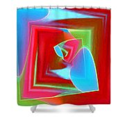 Red Blue Cubed Shower Curtain