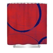 Red Blue Ensos Shower Curtain