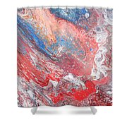 Red Blue White Abstract Shower Curtain