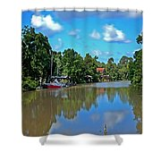 Red Boat And The Magnolia River Shower Curtain