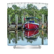 Red Boat Docked Florida Shower Curtain