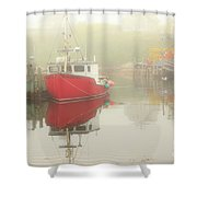 Red Boat In The Fog Shower Curtain