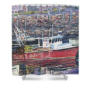 Red Boat Reflections Shower Curtain
