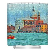 Red Boat Venice Shower Curtain