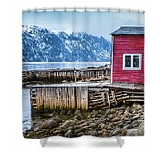 Red Boathouse In Norris Point, Newfoundland Shower Curtain