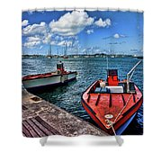 Red Boats At Blue Pier Shower Curtain
