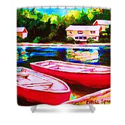 Red Boats At The Lake Shower Curtain