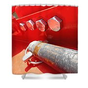 Red Bolt Action Shower Curtain