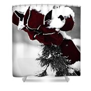 Red Bow In Snow Shower Curtain