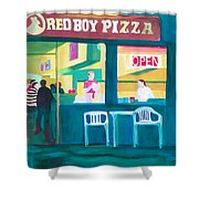 Red Boy Pizza Shower Curtain