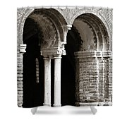 Red Brick Arches Black White Shower Curtain