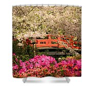 Red Bridge And Blossoms Shower Curtain