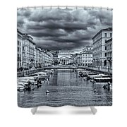 Red Bridge Canal Shower Curtain
