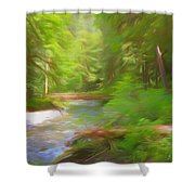 Red Bridge In Green Forest Shower Curtain