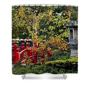 Red Bridge & Japanese Lantern, Autumn Shower Curtain by The Irish Image Collection