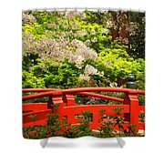 Red Bridge Springtime Shower Curtain