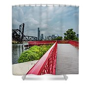Red Bridge To Chicago Shower Curtain
