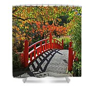 Red Bridge With Shadows Shower Curtain