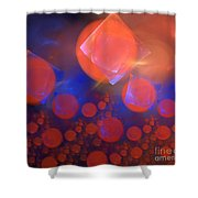 Red Bubble Suns Shower Curtain