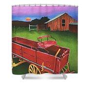 Red Buckboard Wagon Shower Curtain