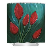 Red Buds Shower Curtain