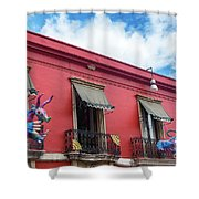Red Building And Alebrije Shower Curtain