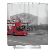 Red Buss In London Shower Curtain