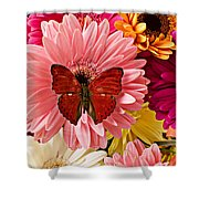 Red Butterfly On Bunch Of Flowers Shower Curtain