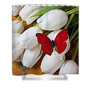 Red Butterfly On White Tulips Shower Curtain by Garry Gay