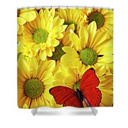 Red Butterfly On Yellow Mums Shower Curtain