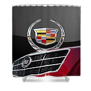 Red Cadillac C T S - Front Grill Ornament And 3d Badge On Black Shower Curtain