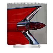 Red Cadillac Fin Shower Curtain