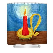 Red Candle Lighting Up The Dark Blue Night. Shower Curtain