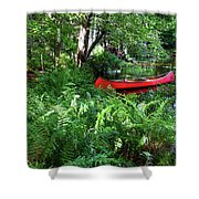 Red Canoe In The Adk Shower Curtain