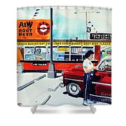 Red Car At The A And W Shower Curtain