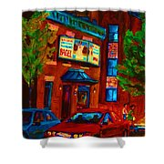 Red Car Blue Sky Shower Curtain