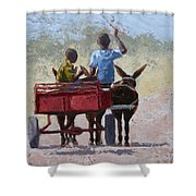 Red Cart Shower Curtain