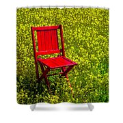 Red Chair Amoung Wildflowers Shower Curtain