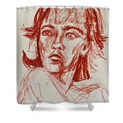 Red Charcoal Sketch 6481 Shower Curtain