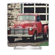 Red Chevrolet Shower Curtain by Stephanie Calhoun